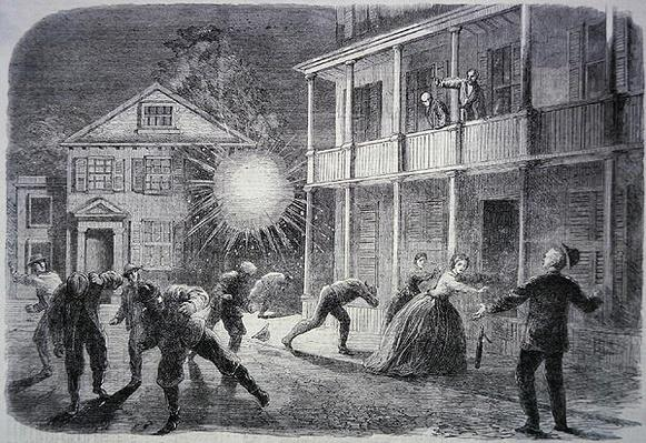 The War in America: The Federals shelling the city of Charleston, contemporary illustration from 'The Illustrated London News'