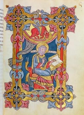 Ms 479 fol.33 St. Luke, from 'Les Evangiles de l'Abbaye de Cysoing'