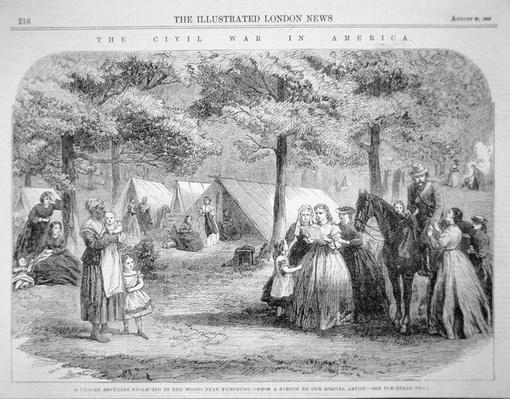 Southern refugees encamped in the woods near Vicksburg, from 'The Illustrated London News', 29th August 1863