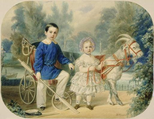 Grand Duke Alexander and Grand Duke Alexey as Children, 1853