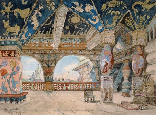 Stage design for Nikolai Rimsky-Korsakov's opera 'The Snow Maiden', 1883