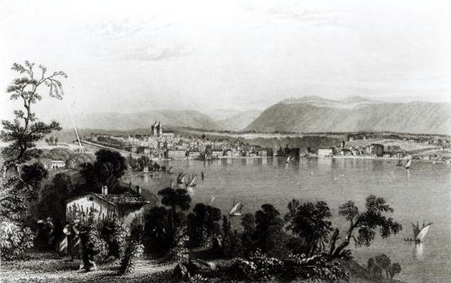 Geneva from Coligny, engraved by Robert Wallis