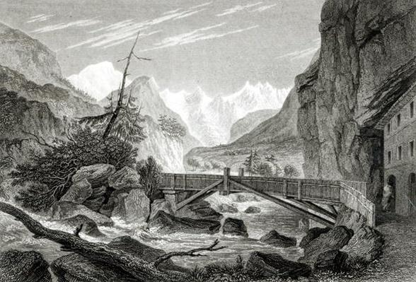 Mont Blanc from the Baths of St. Didier, engraved by C.Westwood