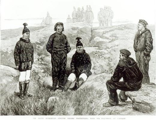 English sailors fraternising with the Eskimoes at Godhavn, from 'The Graphic', 18th June 1875