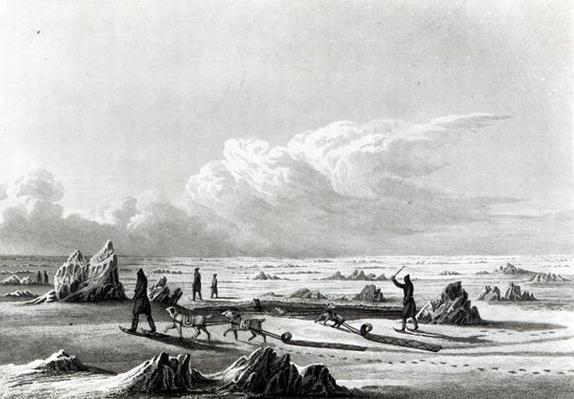 Winter Travelling on Great Salave Lake, from 'Journey to the Polar Sea', engraved by Edward Finden