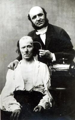 Duchenne de Boulogne with a 'victim patient', 1862