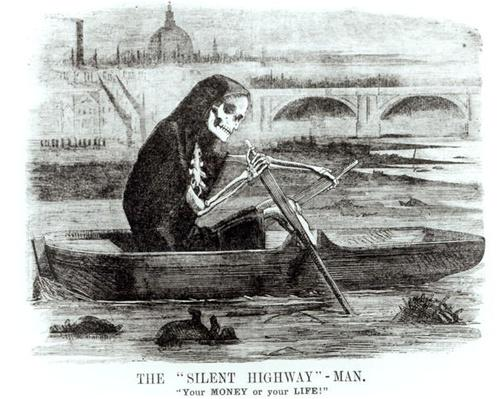 The Silent Highway Man, from 'Punch', 1858