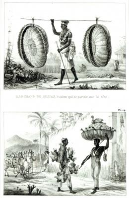Head baskets and a poultry seller, from 'Voyage Pittoresque et Historique au Bresil',