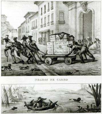 Negroes with a Cart and a Brazilian boat made from leather, from 'Voyage Pittoresque et Historique au Bresil',