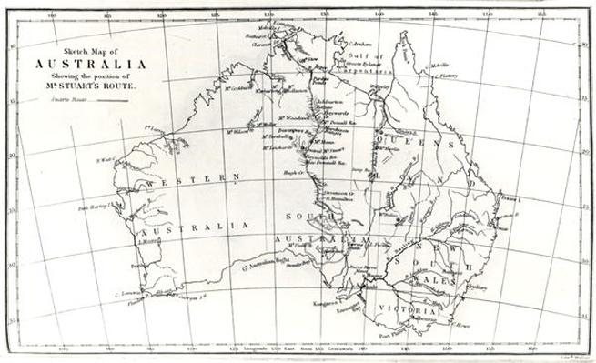 Sketch map of Australia showing the position of Mr. Stuart's Route, 1864