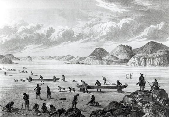 Expedition passing through Point Lata on the Ice, engraved by Edward Francis Finden
