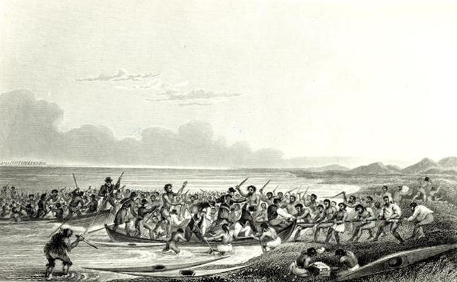 The Eskimoes Pillaging the Boats, engraved by Edward Francis Finden