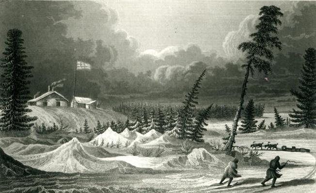Winter View of Fort Franklin, engraved by Edward Francis Finden