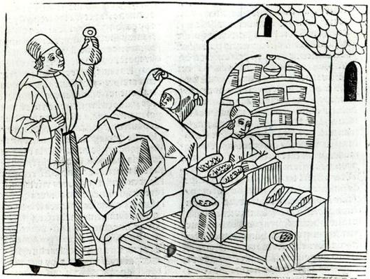 A patient with a Doctor and a Pharmacist from 'Le Livre des proprietes des choses' by Barthelemy l'Anglaise, 1482