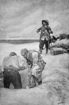 Pirate Captain William Kidd burying treasure on Gardiner's Island