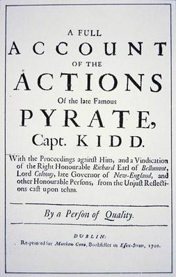 Title Page of a Life of the Pirate Captain William Kidd, published in London in 1701