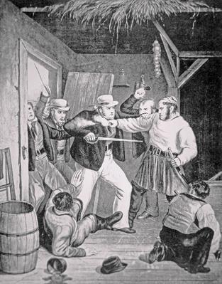 Customs men raiding a smugglers' den, c.1820