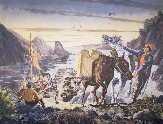 Smugglers loading contraband on their ponies for the journey inland
