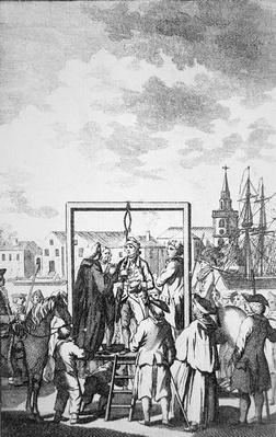 Hanging a pirate at Wapping by the River Thames in the eighteenth century