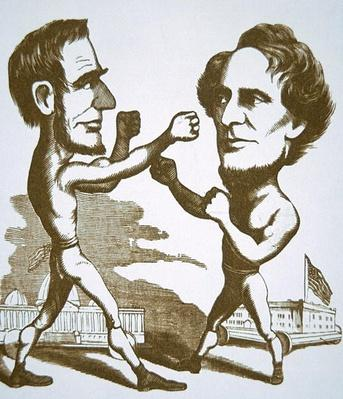 Cartoon depicting Abraham Lincoln squaring up to Jefferson Davis (engraving) by American School, (19th century)