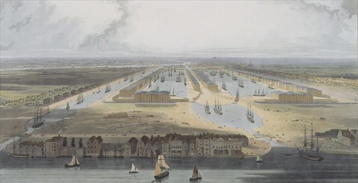 West India Trade Docks, from 'Six Views of the London Docks', 1802