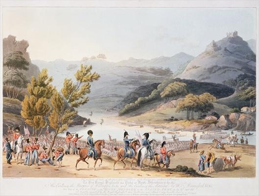 Fording of the River Mondego, engraved by C. Turner, 21st September 1810