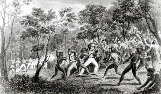 Attack of the Natives of Gambier Islands, engraved by Edward Finden, 1831