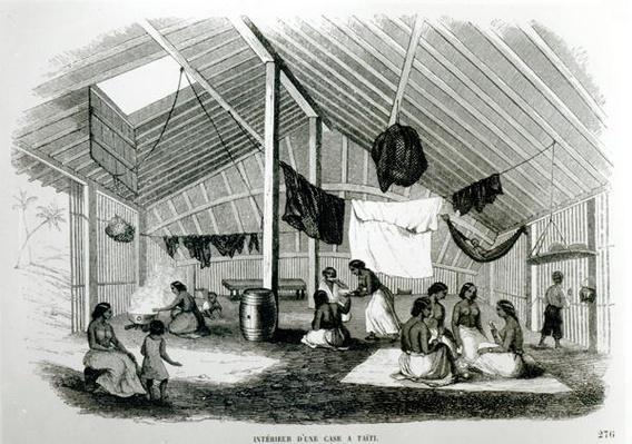 Inside a Tahitan Hut, from 'Voyages dans Les Deux Oceans', by Eugene Delessert, 1848