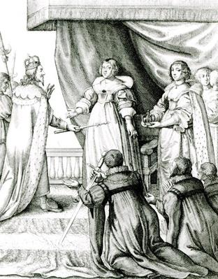 Charles I being given the sceptre and crown