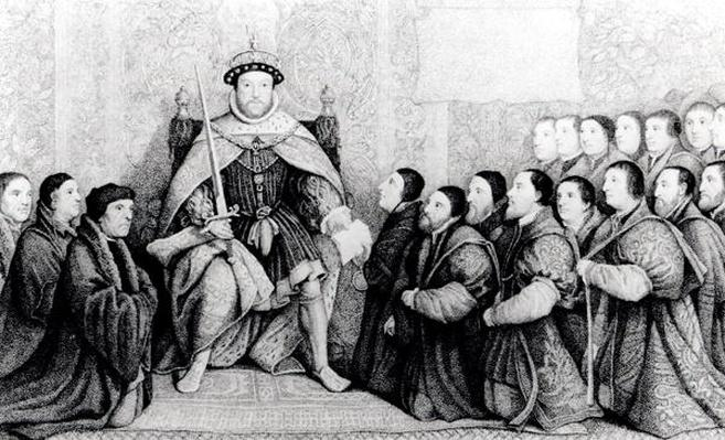 Henry VIII bestowing the charter on the Barber Surgeons