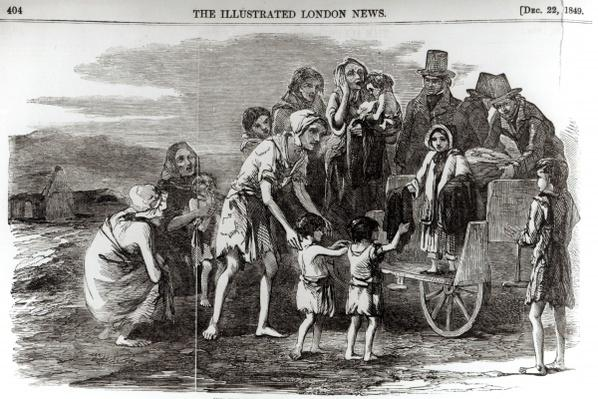 Miss Kennedy Distributing Clothing at Kilrush, from 'The Illustrated London News.' 22nd December 1849