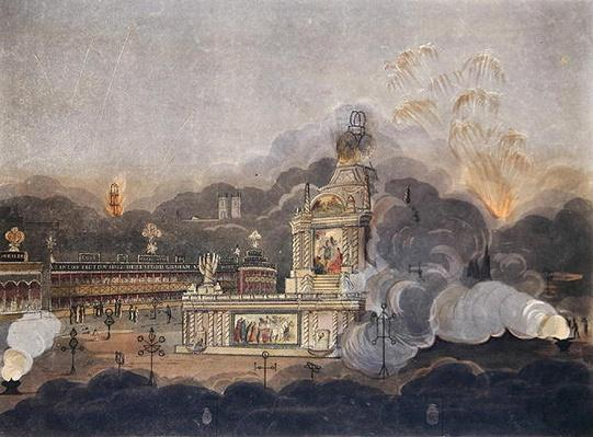 A View of the Temple of Concord in the Green Park, 1st August 1814