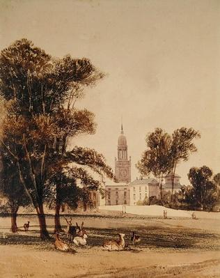 The Church of St Alphage from the Park, Greenwich, 1831