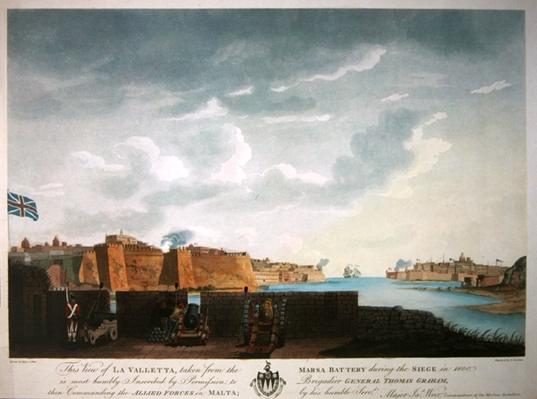 View of La Valletta during the siege of 1800, engraved by Francis Chesham, 1803