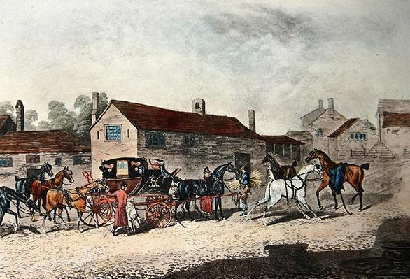 The Mail Coach Changing Horses, engraved by R. Havell, 1815