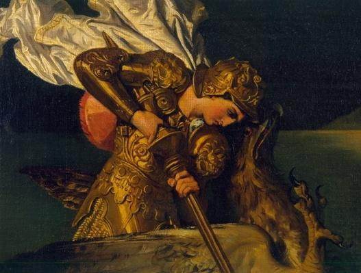 Ruggiero Rescuing Angelica, detail of Ruggiero, 1819