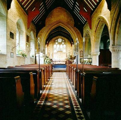 Interior view of the Church of St. Michael and All Angels, Stanton, Gloucestershire