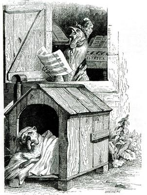 Dog sleeping and cockerel singing, from J. Thomson's 'Public and Private Life of Animals'