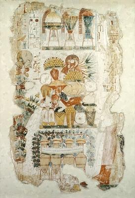 Nebamun receiving offerings from his son, from the Tomb of Nebamun, c.1350 BC