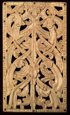 English Bone Pierced Relief, c.1125-50: Formerly Binding of Printed Bible, 1552