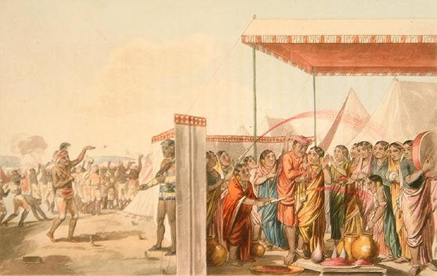 Playing the Hohlee, from 'A Mahratta Camp', 5th April 1813
