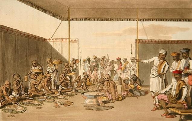 A Marratta Surdar entertaining Brahmuns, from 'A Mahratta Camp', 5th April 1813
