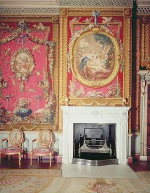 View of the fire place designed by Adam in the Tapestry Room