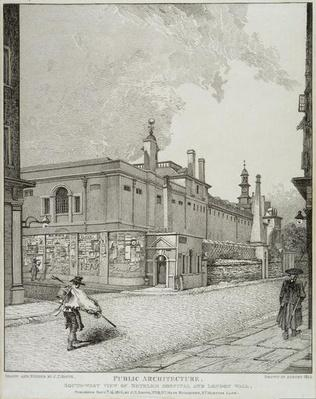 South West View of Bethlem Hospital and London Wall, 1814