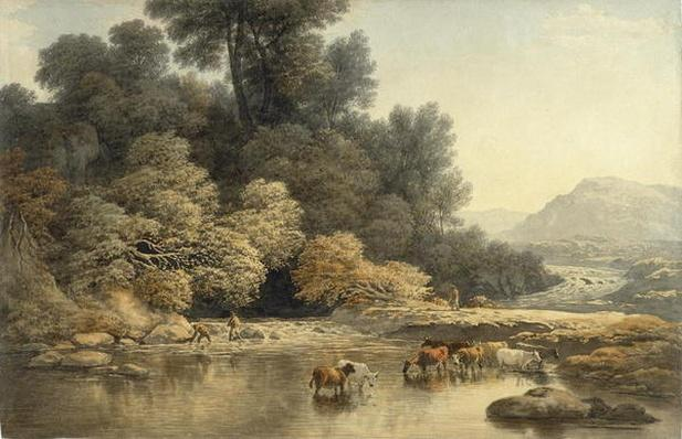 Hilly landscape with River and Cattle, c.1810