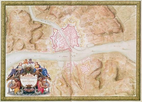 Ms 988 tome 3 fol.45 Plan and map of the town and citadel of Bayonne, from the 'Atlas Louis XIV', 1683-88