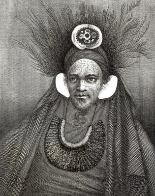 Chief of St.Christina, illustration from 'Journey Round the World to the South Pole',by Captain James Cook