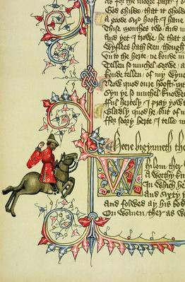 The Merchant, facsimile detail from 'The Canterbury Tales', by Geoffrey Chaucer