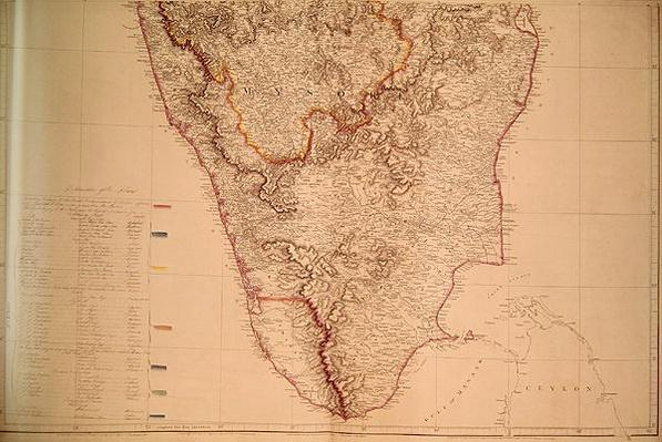 Map of Southern India, 1816