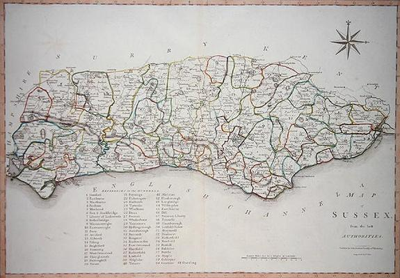 Map of Sussex, 26th March 1805